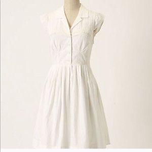 Anthropologie White Cotton Shirt Dress XS